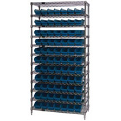 "Chrome Wire Shelving with 77 4""H Plastic Shelf Bins Blue, 36x14x74"