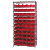 "Chrome Wire Shelving with 55 4""H Plastic Shelf Bins Red, 36x14x74"