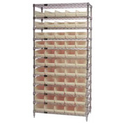 "Chrome Wire Shelving with 55 4""H Plastic Shelf Bins Stone, 36x14x74"