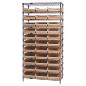 "Chrome Wire Shelving with 33 4""H Plastic Shelf Bins Stone, 36x18x74"