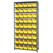 "Quantum 1275-202 Steel Shelving With 45 6""H Shelf Bins Yellow, 36x12x75-10 Shelves"
