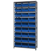 "Quantum 1275-209 Steel Shelving With 27 6""H Shelf Bins Blue, 36x12x75-10 Shelves"