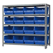 "Quantum 1239-207 Steel Shelving With 16 6""H Shelf Bins Blue, 36x12x39-5 Shelves"