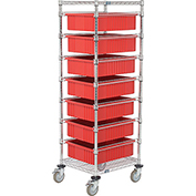 "Chrome Wire Cart 21 x 24 x 69 with 7 6""H Grid Containers Red"
