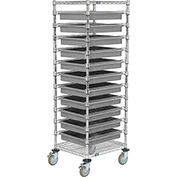 "21X24X69 Chrome Wire Cart With 11 3""H Grid Containers Gray"