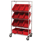 "Quantum MWRS-5-92035 Chrome Wire Truck With 12 3-1/2""H Grid Containers Red, 36""L x 18""W x 63""H"