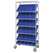 "Quantum MWRS-7-104 Chrome Wire Truck With 30 4""H Shelf Bins Blue, 36""L x 18""W x 74""H"