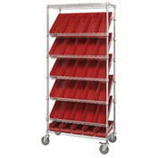 "Quantum MWRS-7-104 Chrome Wire Truck With 30 4""H Shelf Bins Red, 36""L x 18""W x 74""H"