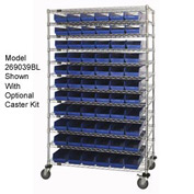 "Chrome Wire Shelving with 110 4""H Plastic Shelf Bins Blue, 48x18x74"