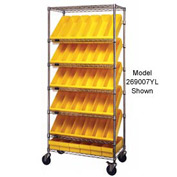 """Quantum MWRS-7-604 Chrome Wire Truck With 54 4-5/8""""H Plastic Drawers Yellow, 36""""L x 18""""W x 74""""H"""