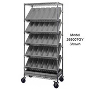 """Quantum MWRS-7-604GY Chrome Wire Truck With 54 4-5/8""""H Plastic Drawers Gray, 36""""L x 18""""W x 74""""H"""