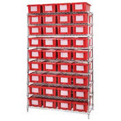 "Chrome Wire Shelving With 36 6""H Nest & Stack Shipping Totes Red, 48x18x74"