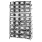 "Chrome Wire Shelving With 36 6""H Nest & Stack Shipping Totes Gray, 48x18x74"