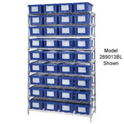 "Chrome Wire Shelving With 12 10""H Nest & Stack Shipping Totes Blue, 72x24x63"