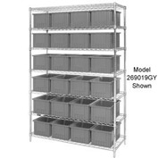 "Chrome Wire Shelving With 36 6""H Grid Container Gray, 48x18x74"