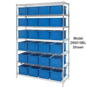 "Chrome Wire Shelving With 24 6""H Grid Container Blue, 60x24x74"