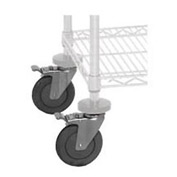 Quantum WR00H Caster Kit For Chrome Wire Shelving 4 Swivel With 2 Brakes