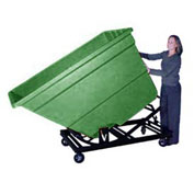 Bayhead Green Plastic Self-Dumping Forklift Hopper 2.2 Cu Yd With Caster Base