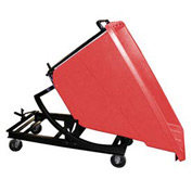Bayhead Red Plastic Self-Dumping Forklift Hopper 5/8 Cu Yd with Caster Base