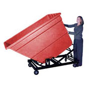 Bayhead Red Plastic Self-Dumping Forklift Hopper 2.2 Cu Yd With Caster Base