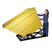 Bayhead Products Yellow Plastic Self-Dumping Forklift Hopper 1.7 Cu Yd