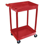 Luxor® RDTC11RD Red 2 Shelf Tray Shelf Plastic Cart 32 x 24