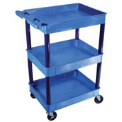 Luxor® BUTC111BU Blue 3 Shelf Tray Shelf Plastic Cart 32 x 24