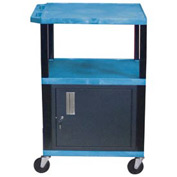 Luxor WT42C2 Blue Tuffy Garage & Shop Utility Cart with Cabinet 250 Lb. Cap.