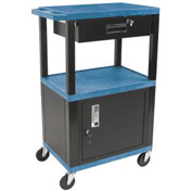 H. Wilson WT42C2-B/WTD Blue Tuffy Garage & Shop Utility Cart with Cabinet & Drawer 250 Lb.