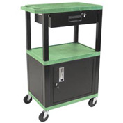 Luxor WT42C2-B/WTD Green Tuffy Garage & Shop Utility Cart with Cabinet & Drawer 250 Lb.