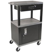 Luxor WT42C2-B/WTD Gray Tuffy Garage & Shop Utility Cart with Cabinet & Drawer 250 Lb.