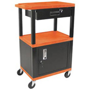 H. Wilson WT42C2-B/WTD Orange Tuffy Garage & Shop Utility Cart with Cabinet & Drawer 250 Lb.