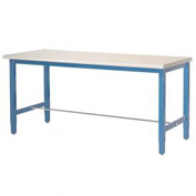 "72""W x 24""D Production Workbench - Plastic Laminate Square Edge - Blue"