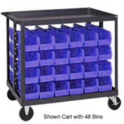 "Quantum QRC-4D-239-16 1/2 Mobile Bin Cart With 16 10-3/4""D Stacking Bins Blue, 36"" x 24"" x 35-1/2"""