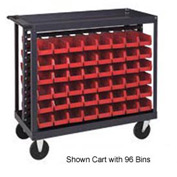 "Quantum QRC-7D-210-96 1/2 Mobile Bin Cart With 96 5-3/8""D Stacking Bins Red, 36""L x 18""W x 35-1/2""H"