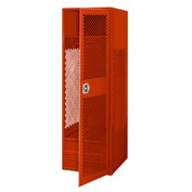Pucel All Welded Gear Locker With Door And Foot Locker 24x18x72 Red