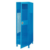 Pucel All Welded Gear Locker With Door Foot Locker And Legs 24x18x72 Blue