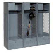 Pucel All Welded 3 Wide Gear Locker With Foot Locker Top Shelf Cabinet 24x18x72 Gray