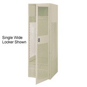 Pucel All Welded 3 Wide Gear Locker With Door Foot Locker 24x18x72 Putty