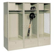 Pucel All Welded 3 Wide Gear Locker With Foot Locker Top Shelf Cabinet 24x24x72 Putty