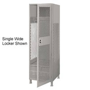 Pucel All Welded 3 Wide Gear Locker With Door Foot Locker And Legs 24x24x72 Gray