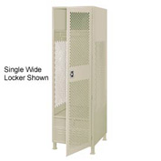Pucel All Welded 3 Wide Gear Locker With Door Foot Locker And Legs 24x24x72 Putty