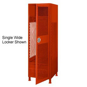 Pucel All Welded 3 Wide Gear Locker With Door Foot Locker And Legs 24x24x72 Red