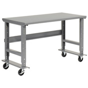 "48""W x 36""D Mobile Workbench - Steel - Gray"