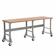 "96""W x 30""D Mobile Workbench - Shop Top Square Edge - Gray"
