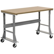 "72""W x 36""D Mobile Workbench - Shop Top Safety Edge - Gray"
