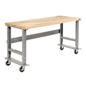 "72""W x 30""D Mobile Workbench - Maple Butcher Block Square Edge - Gray"