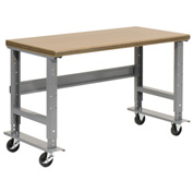 "72""W x 30""D Mobile Workbench - Shop Top Safety Edge - Gray"