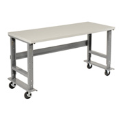 "72""W x 36""D Mobile Workbench - Plastic Laminate Square Edge - Gray"