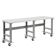 "96""W x 36""D Mobile Workbench - Plastic Laminate Square Edge - Gray"